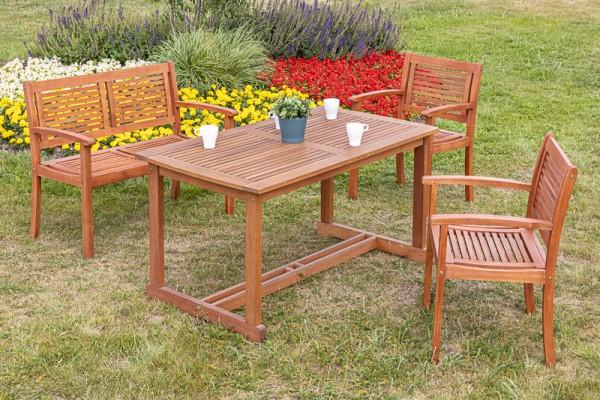 Merxx Cordoba Set 4-teilig, Sessel, Bank und Tisch Tisch 140 x 80 cm
