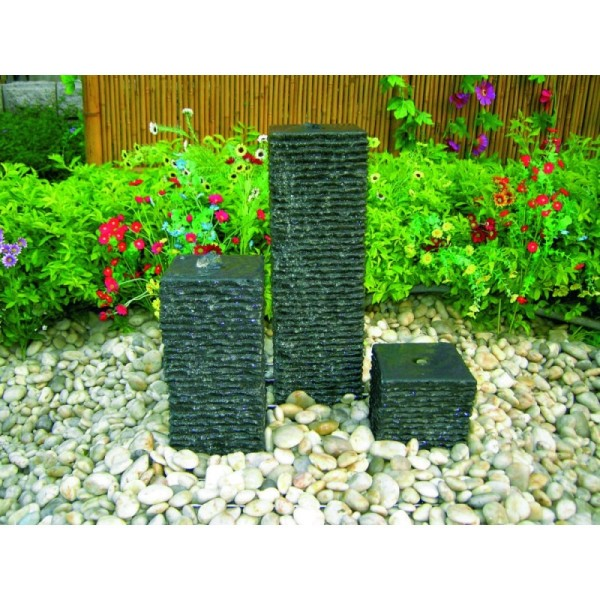 Wasserspiel aus drei Säulen, Granit dunkelgrau, Komplettset