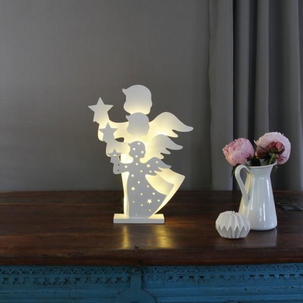 Max Pferdekaemper LED-Weihnachtsleuchter, 3D-Engel, batteriebetrieben