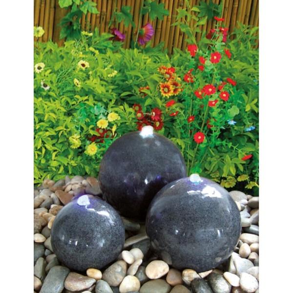 Wasserspiel Caroline mit 3 Granitkugeln dunkelgrau, Komplettset