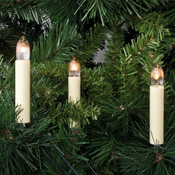 Weihnachtsbaumkette, 15 x E10/16V/3W, klar/elfenbein, mit Topkerzen