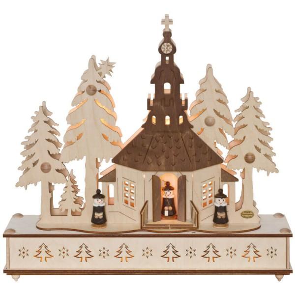 Max Pferdekaemper Weihnachtsleuchter - Seiffener Kirche im Wald mit Chor