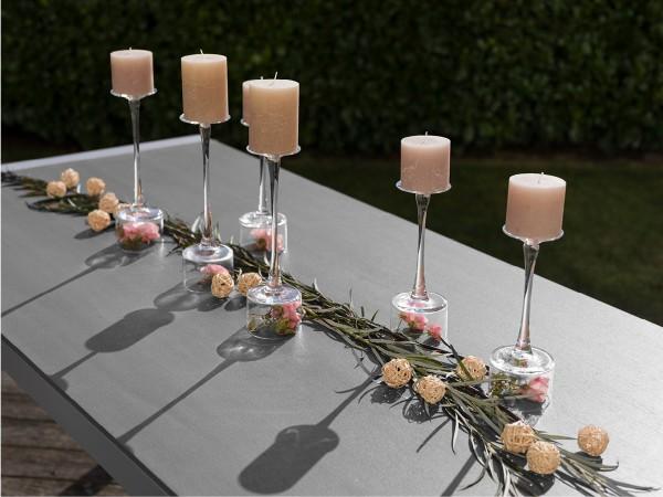 Tisch Kennedy Alu silber / Tischplatte stone grey 90 x 160 cm