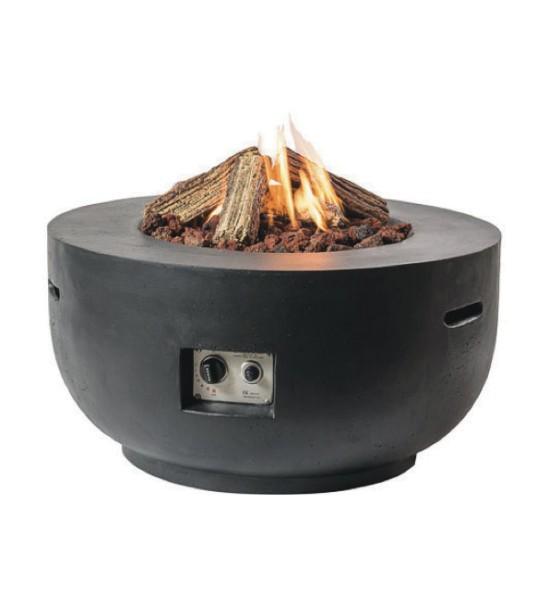 Happy Cocooning Feuertisch Bowl in Beton-Optik, rund, schwarz