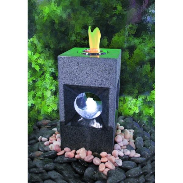 Feuer-Wasserspiel Oracle, Granit dunkelgrau für Bioethanol, Komplettset