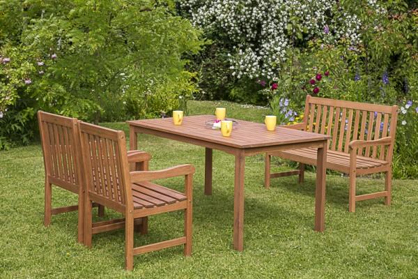 Merxx Santos Set 4-teilig, Sessel, 2-sitzige Bank und Tisch 150 x 90 cm