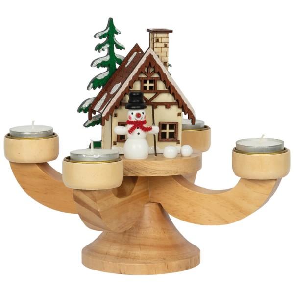 Adventsleuchter mit Räucherhäuschen und Teelichthalter inkl. Räucherkerzen