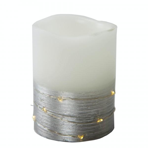 Best Season LED-Wachskerze, 2 farbig, silber/weiss, Höhe ca. 10 cm