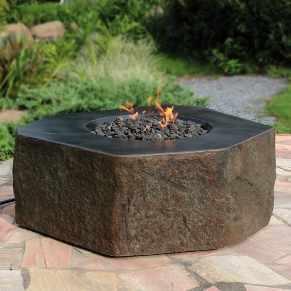 Gardenforma Gas Feuerstelle Dukono in Basaltoptik aus Faserbeton