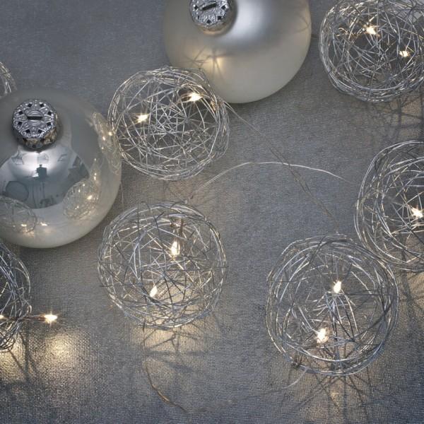 Mark Slöjd LED-Minilichterkette, Metalldrahtbälle silber, 20 LEDs