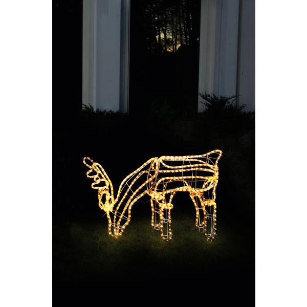 """3D LED Rope Light Silhouette """"Dasher"""" Rentier grasend"""