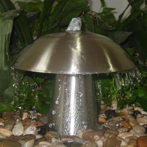 Edelstahl Wasserspiel Mushroom, Set inkl. LED Beleuchtung