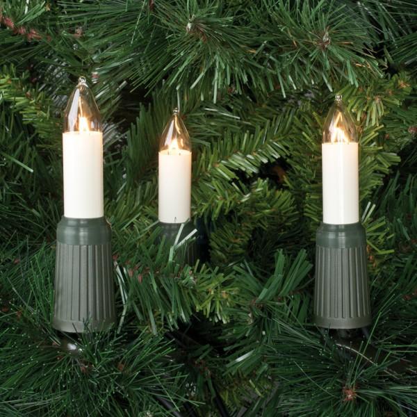 Weihnachtsbaumkette, klar/elfenbein, E14/4W, mit teilbarem Stecker