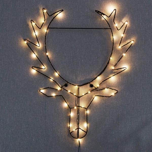 LED Rentierkopf CUPID, 50 warmweiße LEDs