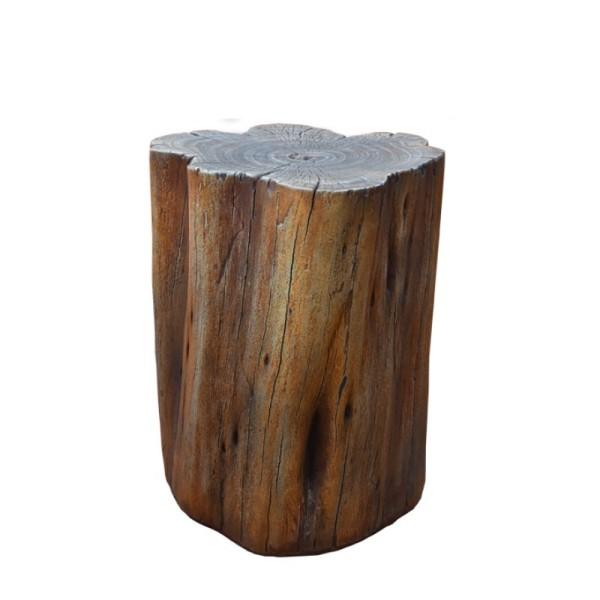 Gardenforma Sitzhocker Warren in brauner Baumstamm-Optik aus Eco-Stone