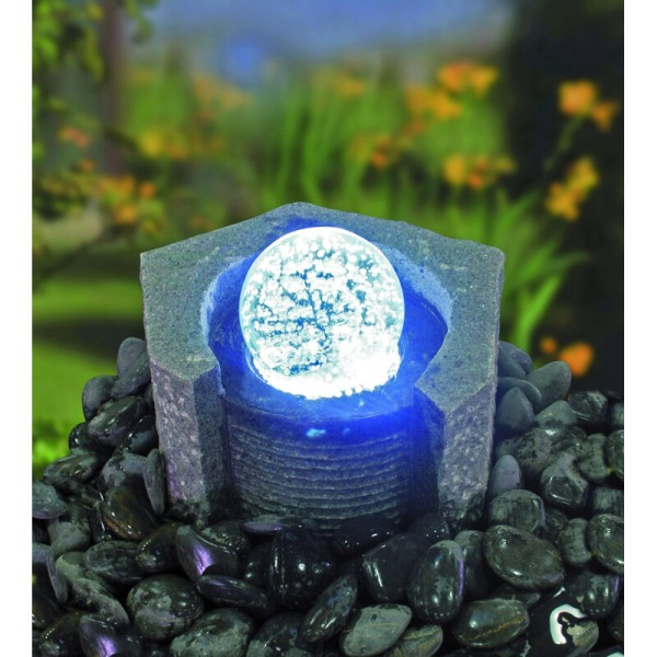 Wasserspielset Lundey, Granit dunkelgrau mit drehender Glaskugel, Komplettset