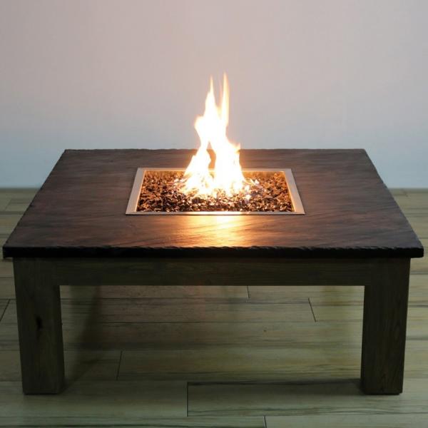 Gardenforma Gas Feuerstelle Colima mit Schiefer Tischplatte, Weidenholz-Gestell
