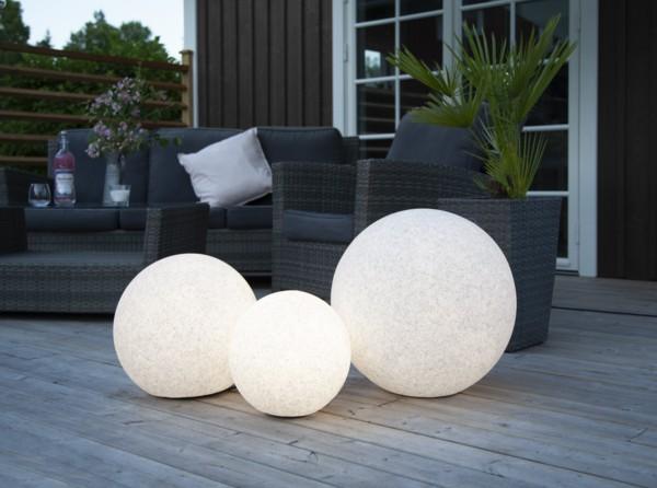 LED Dekokugel Gardenlights STONE, grau/weiß, Größe Ø 30 cm