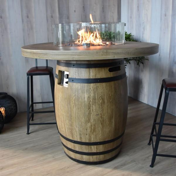 Gas Feuertisch Tuscany Holzfass-Optik