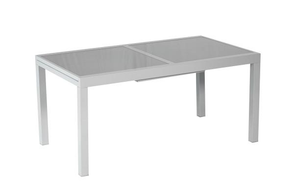 Merxx Ausziehtisch, 120 (180) x 90 cm, graue Glasplatte