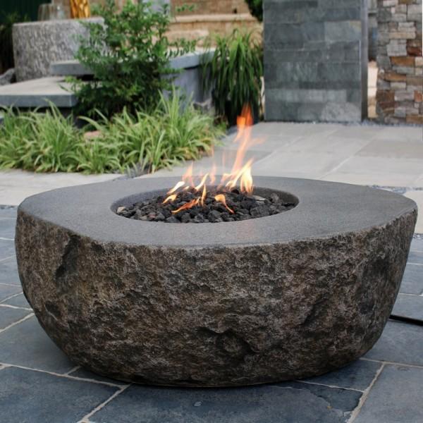 Gardenforma Gas Feuerstelle Vesuv in Basaltoptik aus Faserbeton
