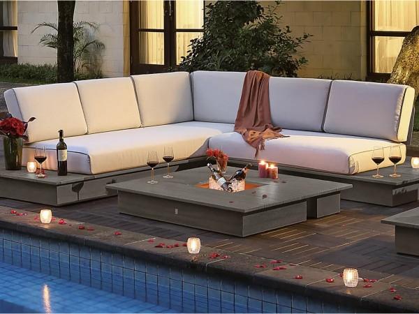 La Villa Lounge Set stone grey, 3-Sitzer und 2-Sitzer inkl. Polster, 1x Loungetisch