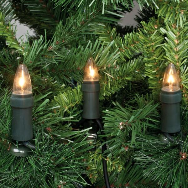 Weihnachtsbaumkette, klar/grün, E10/3W mit teilbarem Stecker
