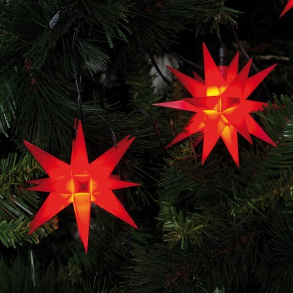 LED Dekolichterkette, 9 Sterne, Ø 12 cm, rot