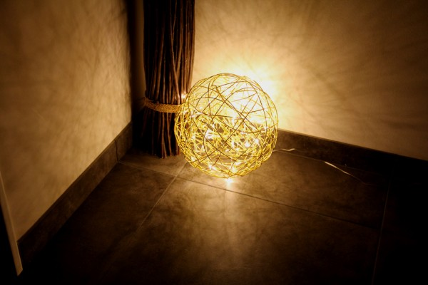 LED 3D Kugel Galax Gold Edelstahlgeflecht - 400mm 400mm