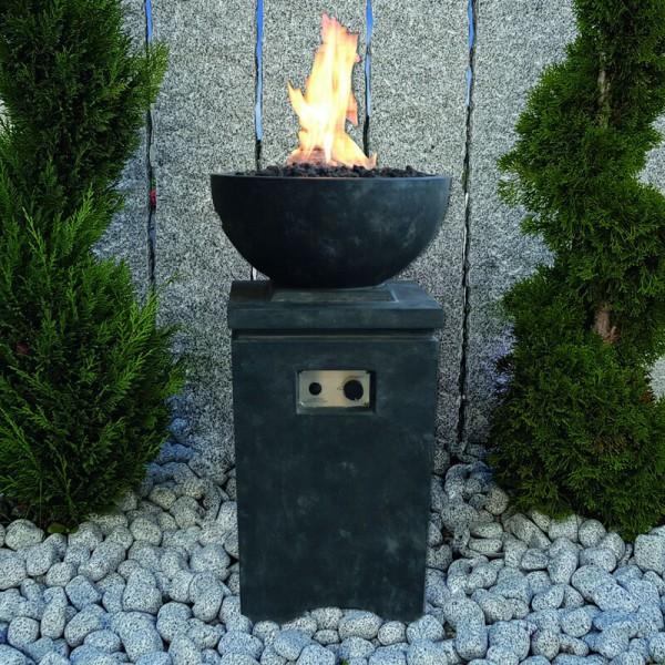 Gardenforma Gasfeuerstelle Kupe, Beton-Optik dunkelgrau, Faserbeton