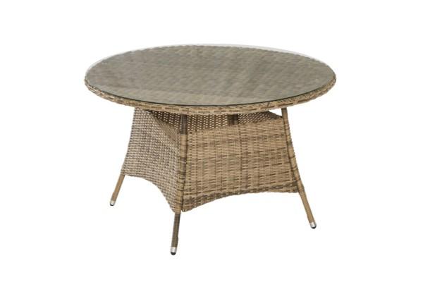 Merxx Tisch Riviera Ø 120 cm, aufliegende Glasplatte, naturgrau