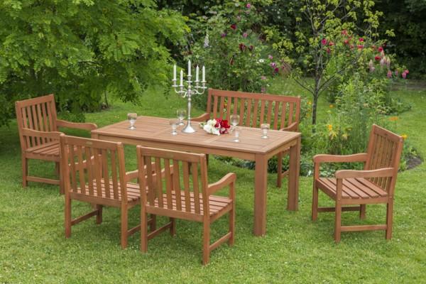Merxx Santos Set 6-teilig, Sessel, 3-sitzige Bank und Tisch 170 x 90 cm