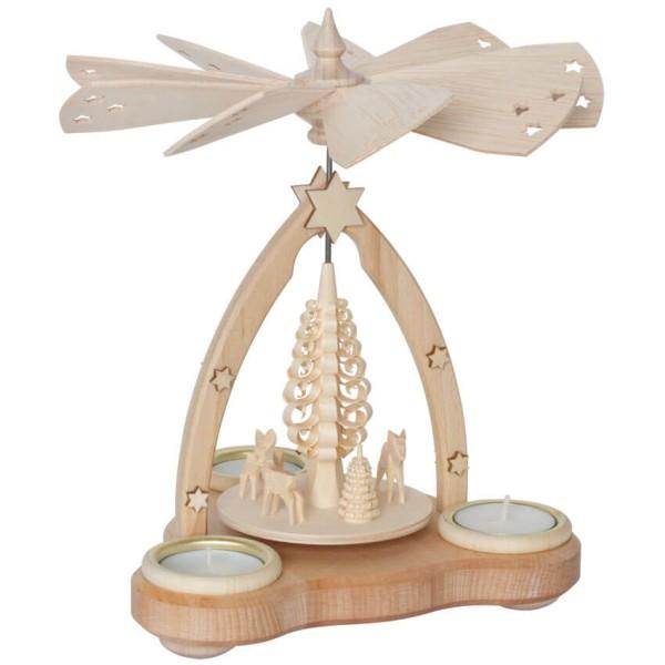 Weihnachtspyramide aus Holz mit Teelichthalter