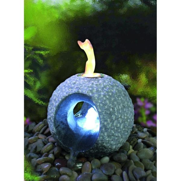 Gardenforma Feuer-Wasserspielset Dot, Granit dunkelgrau für Bioethanol - Komplettset