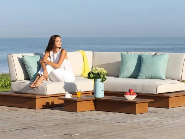 La Villa Lounge Set borneo, 3-Sitzer und 2-Sitzer inkl. Polster, 1x Loungetisch