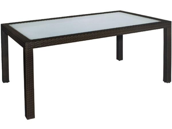 MBM Tisch Bellini Mocca mit Glasplatte, ca. 90 x 160 cm
