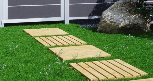 5 Stück Holzfliesen Lärche 50 x 50 cm