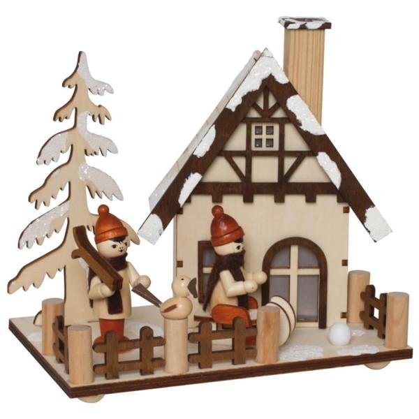 Räucherhäuschen Winterkinder mit Schlitten und Skiern inkl. Räucherkerzen