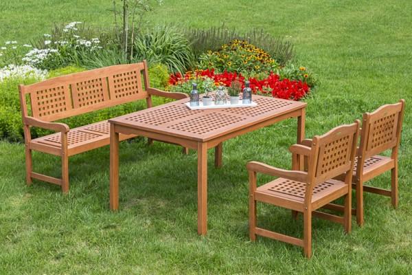 Merxx Lima Set 4-teilig, 3er Bank, Sessel und Tisch 150 x 90cm