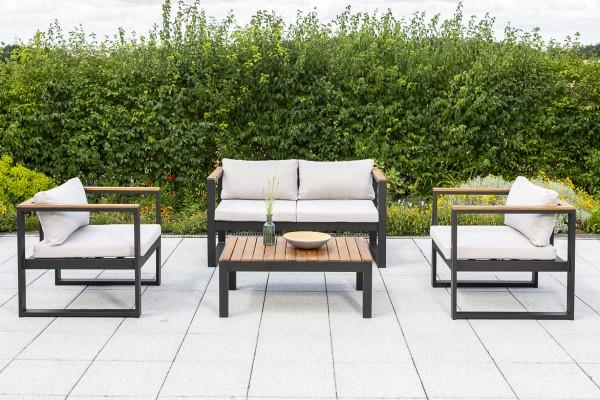 Merxx Lounge Set Mykonos, Sessel, Bank 2-sitzig, inkl. Sitz- und Rückenkissen, Tisch