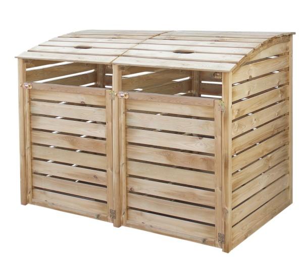 Mülltonnenbox Doppel, kesseldruckimprägniert