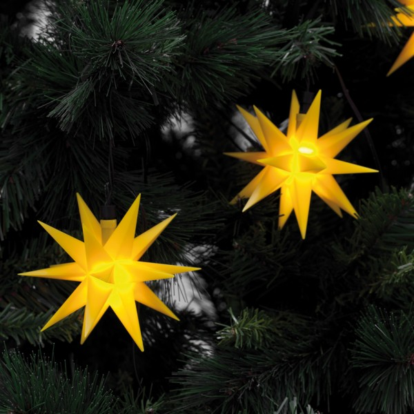 LED-Weihnachtsbaumkette, 9 Sterne, Gelb
