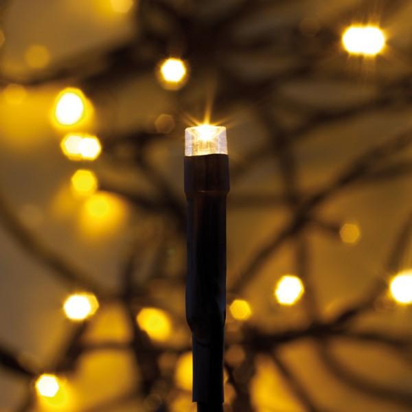 LED-Minilichterkette, amberfarbene und superwarmweiße LEDs 80 LEDs
