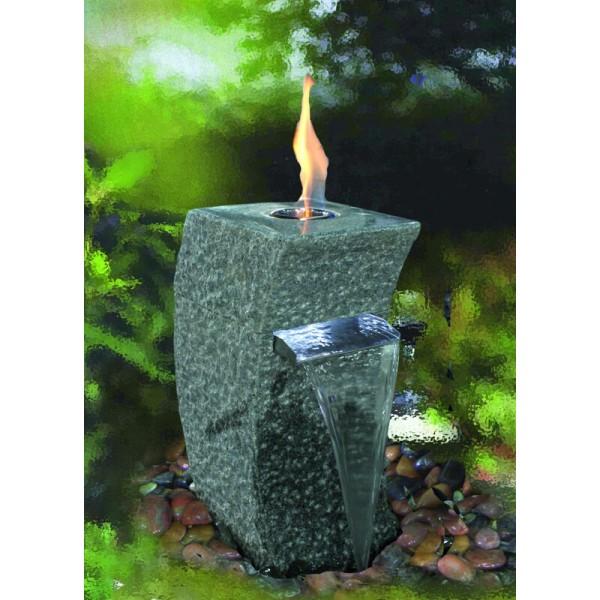 Feuer-Wasserspiel Storm-Grey, Granit dunkelgrau für Bioethanol - Komplettset