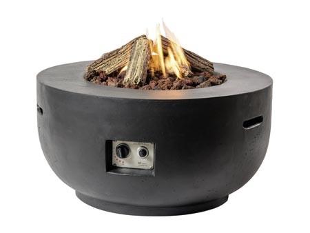 Feuertisch Kugel in Betonoptik, schwarz