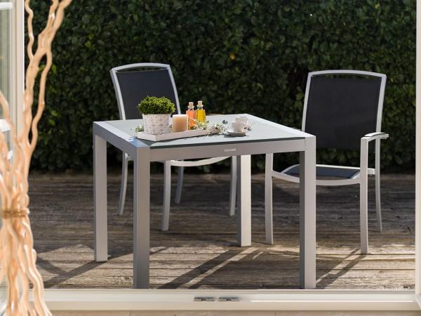 MBM Tisch Kennedy Alu silber / Tischplatte stone grey 90 x 90 cm