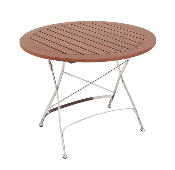 MBM Tisch Brazil Burma, Tischplatte gelattet, Ø 100 cm