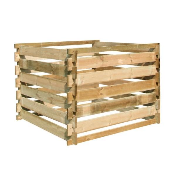 Komposter aus Holz, 100 x 100 x 70 cm, Bausatz, grün