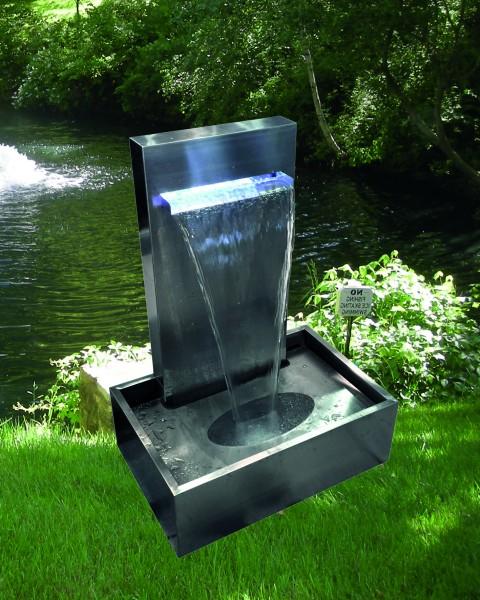 Edelstahl Wasserfall Galton mit Pumpe und LED