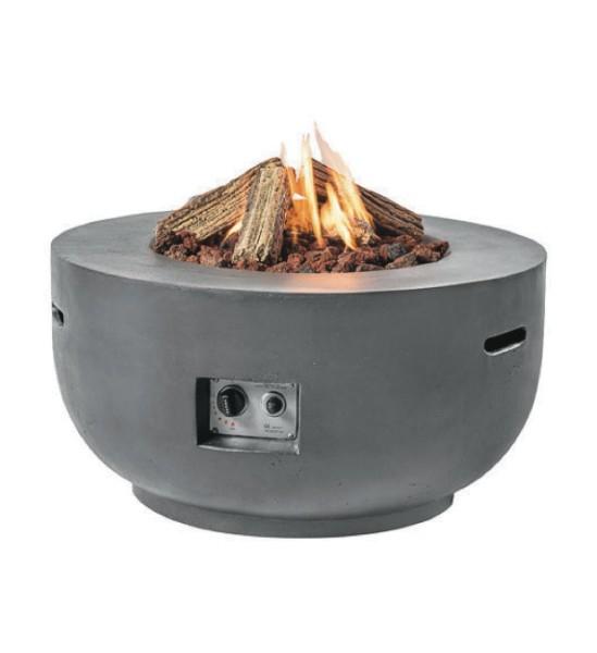 Happy Cocooning Feuertisch in Beton-Optik, rund, grau